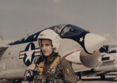 Tom Harkin prepares to fly a jet as a member of the United States Naval Reserve.