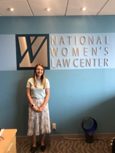 2019 D.C. Experience Scholarship Recipient Sloan Nickel at her internship at the National Women's Law Center.